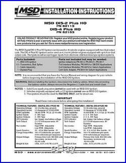 MSD DIS-4 Plus High Output Ignition Control Module PN 62153